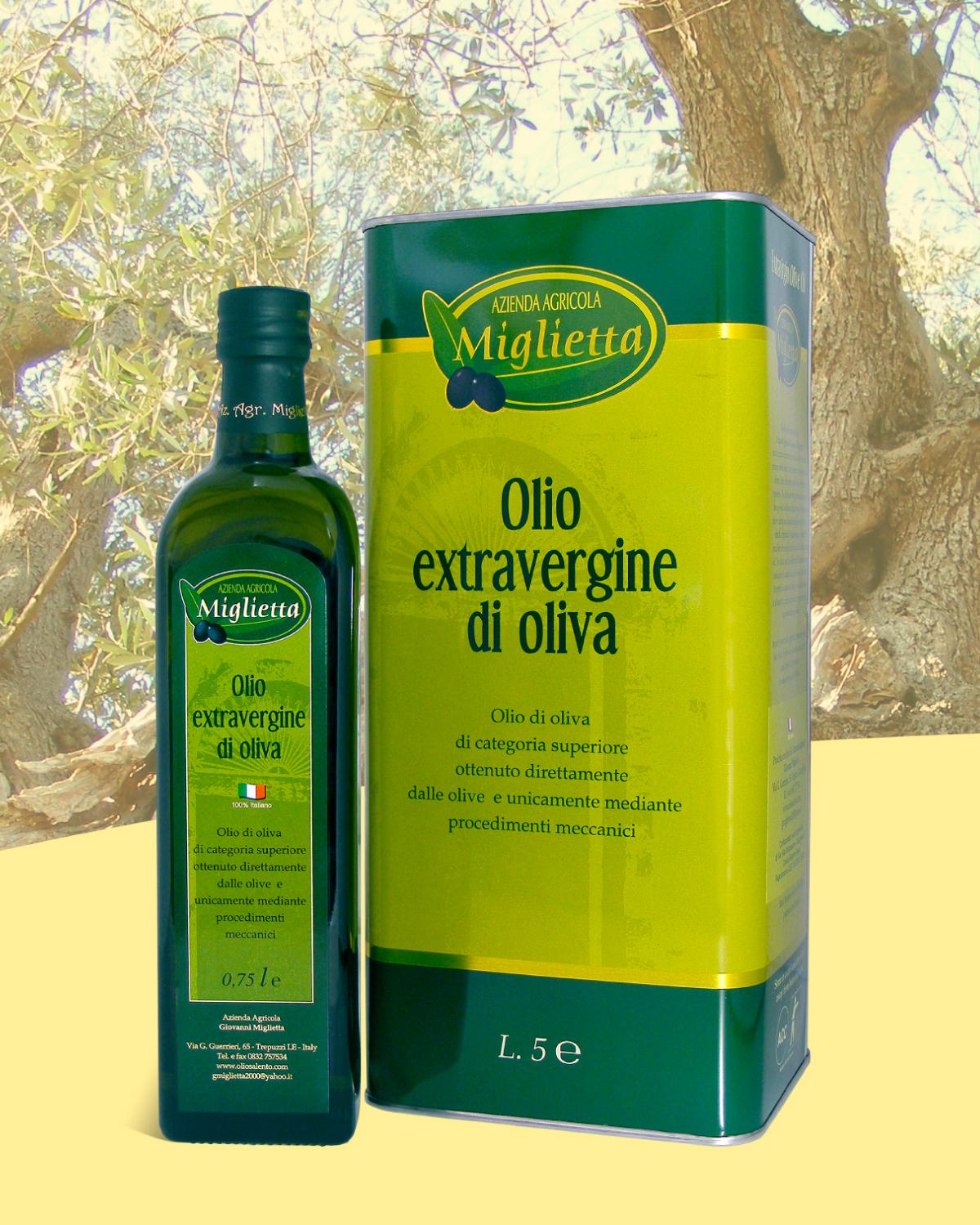 Olio Extravergine di oliva 0.75 lt. e 5 lt. | Azienda agricola Miglietta